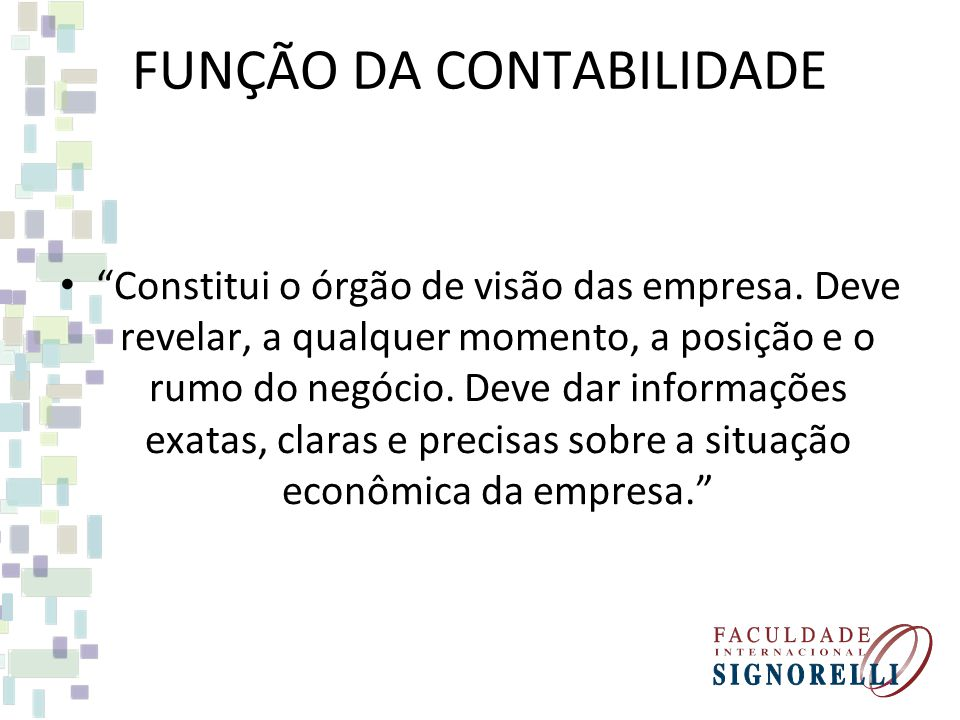 FUNÇÃO DA CONTABILIDADE