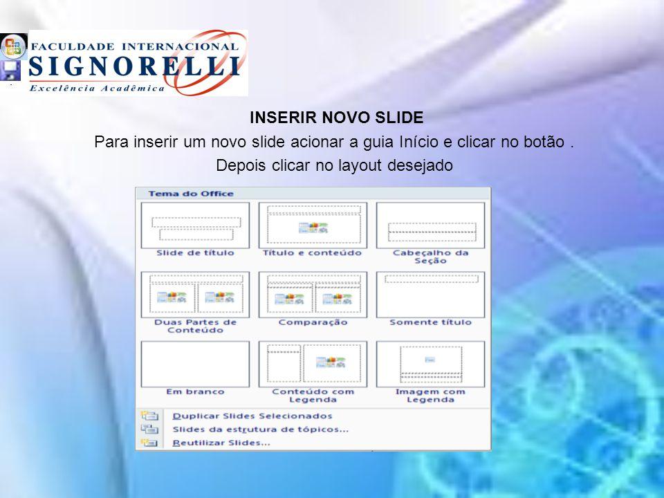 Para inserir um novo slide acionar a guia Início e clicar no botão .