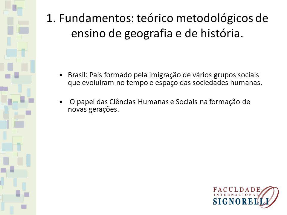 1. Fundamentos: teórico metodológicos de ensino de geografia e de história.