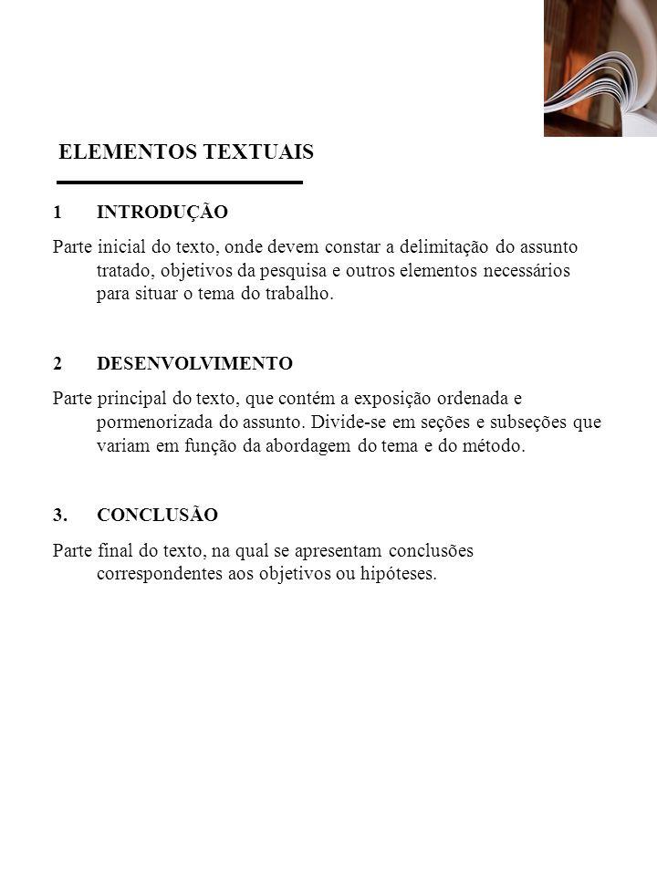 ELEMENTOS TEXTUAIS 1 INTRODUÇÃO