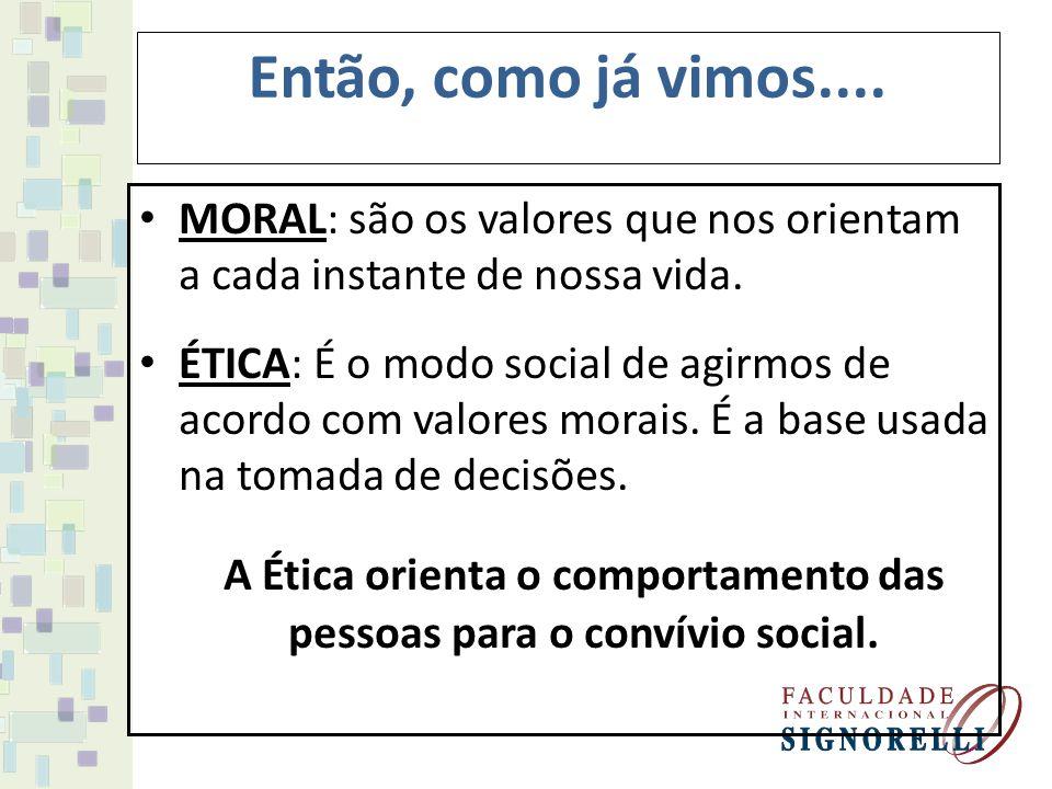 A Ética orienta o comportamento das pessoas para o convívio social.