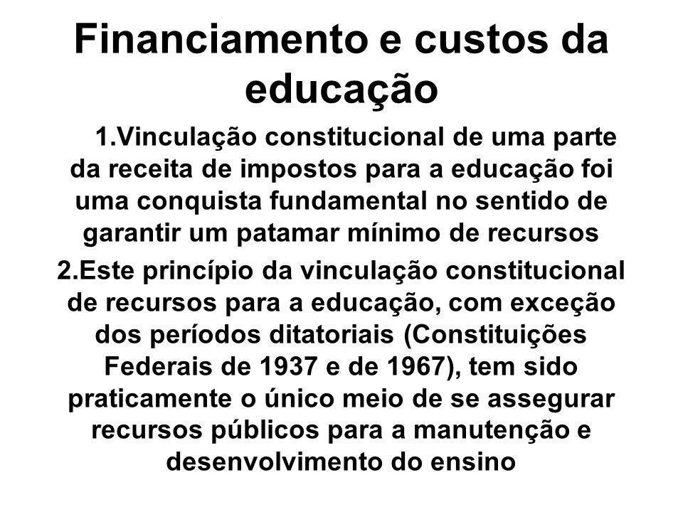 Financiamento e custos da educação