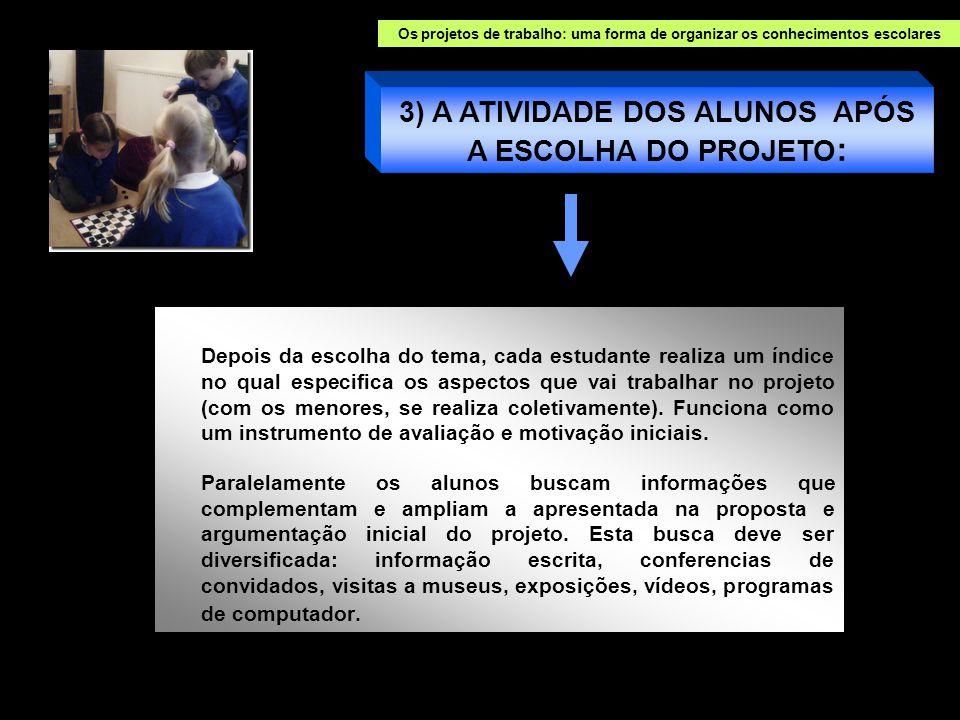 3) A ATIVIDADE DOS ALUNOS APÓS A ESCOLHA DO PROJETO: