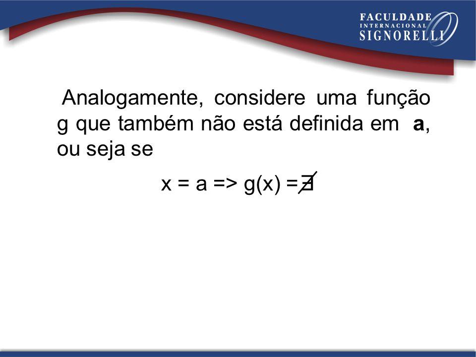 Analogamente, considere uma função g que também não está definida em a, ou seja se