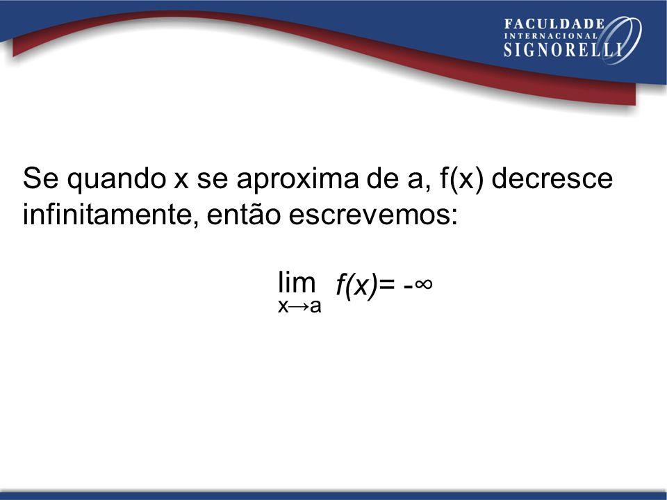 Se quando x se aproxima de a, f(x) decresce infinitamente, então escrevemos: