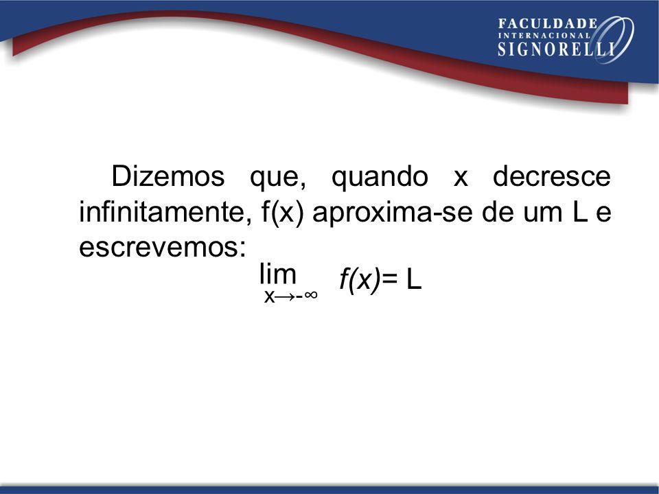 Dizemos que, quando x decresce infinitamente, f(x) aproxima-se de um L e escrevemos: