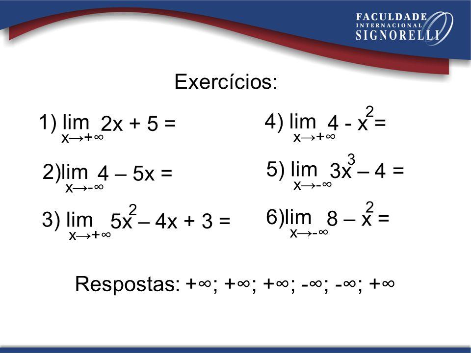 Respostas: +∞; +∞; +∞; -∞; -∞; +∞