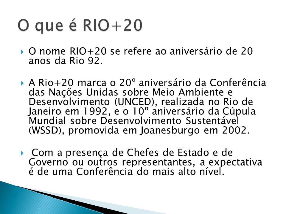 O que é RIO+20 O nome RIO+20 se refere ao aniversário de 20 anos da Rio 92.
