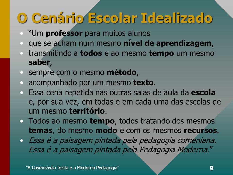 O Cenário Escolar Idealizado