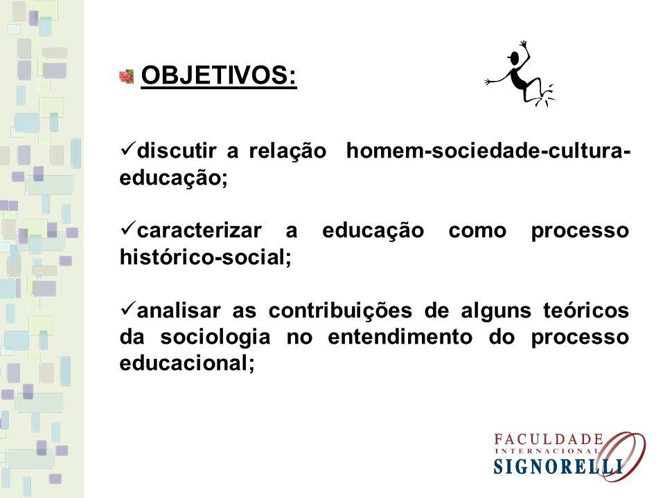 OBJETIVOS: discutir a relação homem-sociedade-cultura-educação; caracterizar a educação como processo histórico-social;