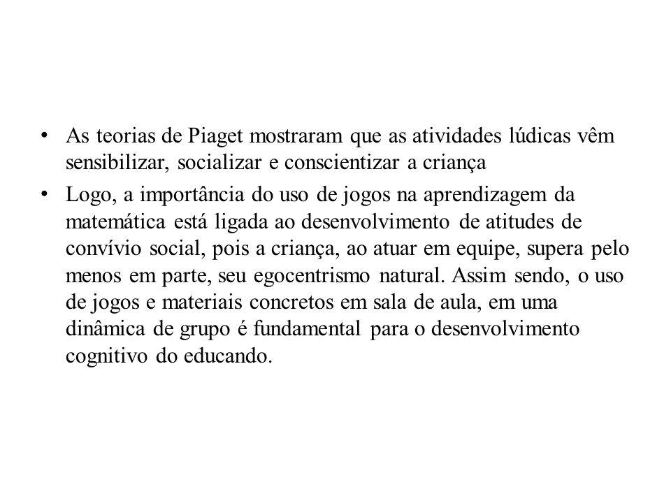 As teorias de Piaget mostraram que as atividades lúdicas vêm sensibilizar, socializar e conscientizar a criança