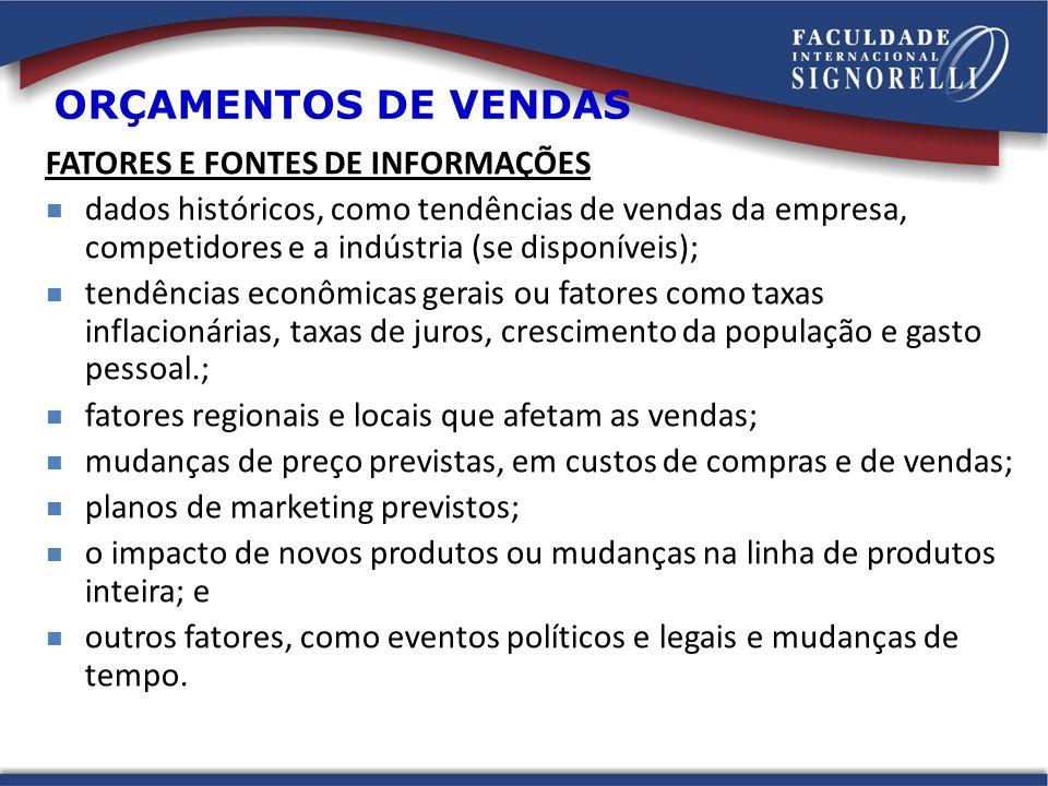 ORÇAMENTOS DE VENDAS FATORES E FONTES DE INFORMAÇÕES