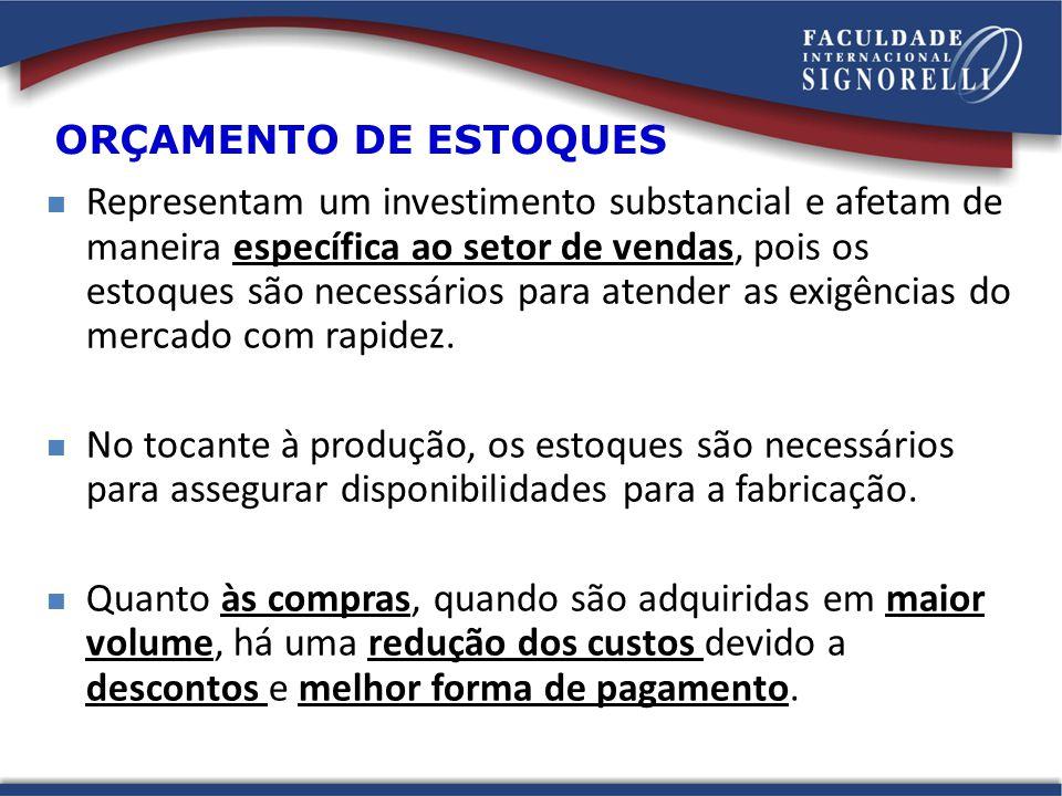 ORÇAMENTO DE ESTOQUES