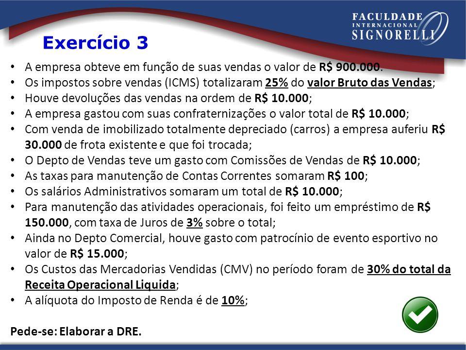 Exercício 3 A empresa obteve em função de suas vendas o valor de R$ 900.000.