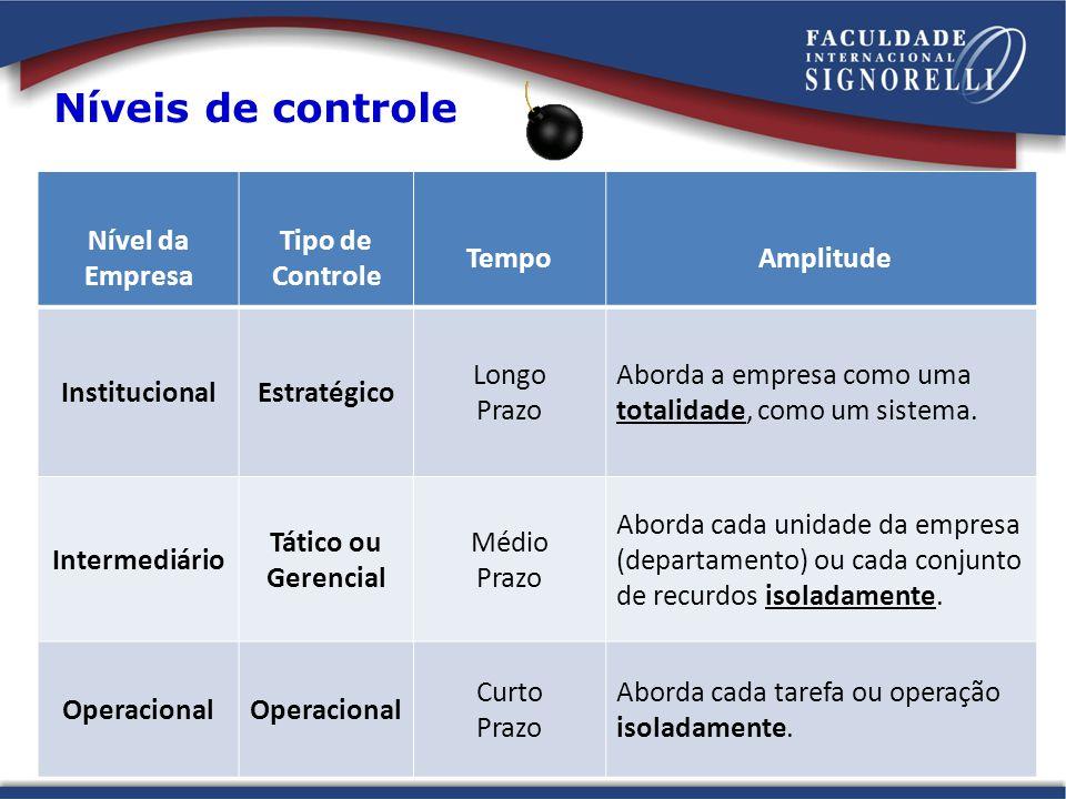 Níveis de controle Nível da Empresa Tipo de Controle Tempo Amplitude