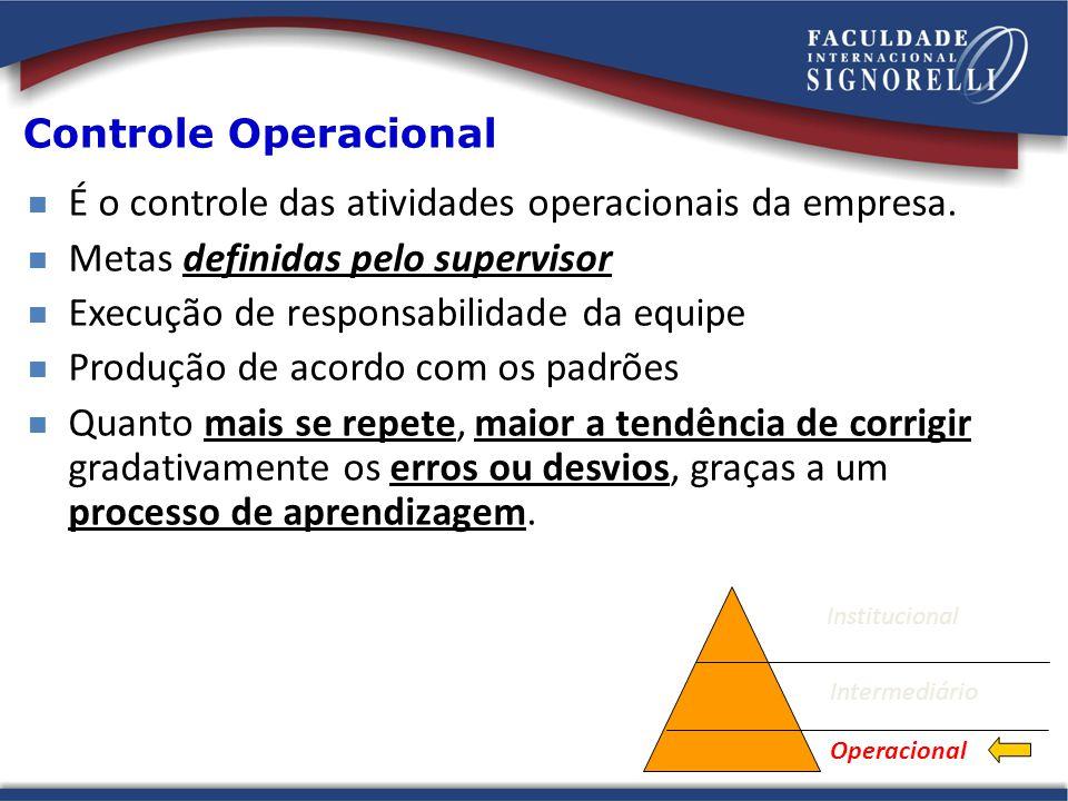 É o controle das atividades operacionais da empresa.