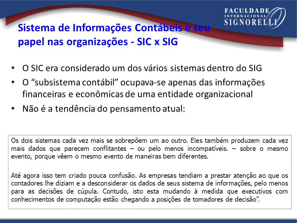 Sistema de Informações Contábeis e seu papel nas organizações - SIC x SIG