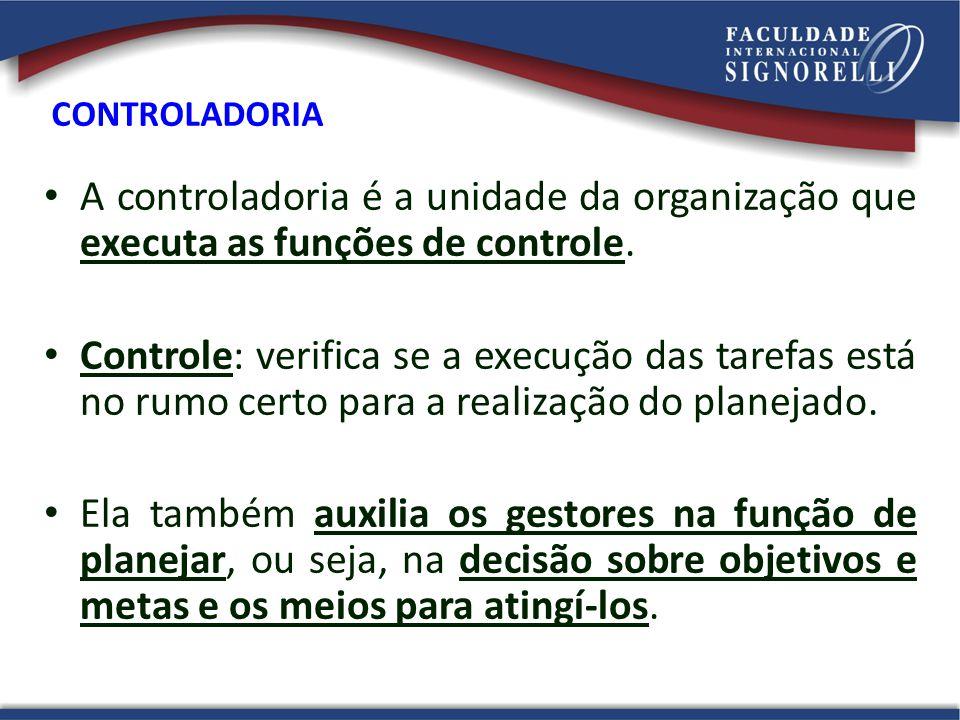 CONTROLADORIA A controladoria é a unidade da organização que executa as funções de controle.
