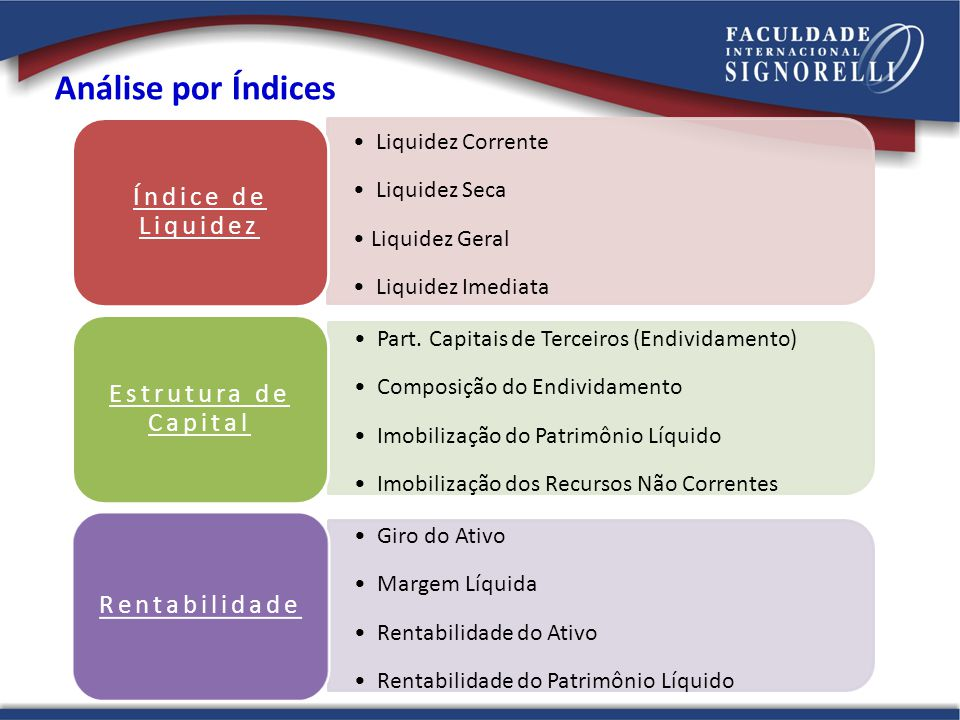 Análise por Índices Índice de Liquidez Estrutura de Capital