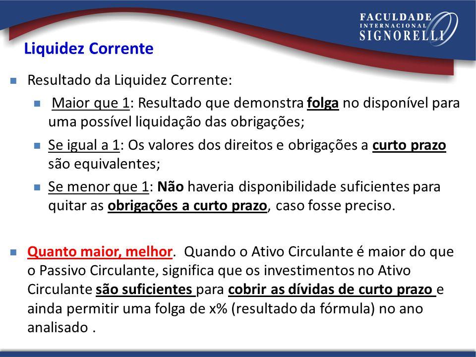 Liquidez Corrente Resultado da Liquidez Corrente: