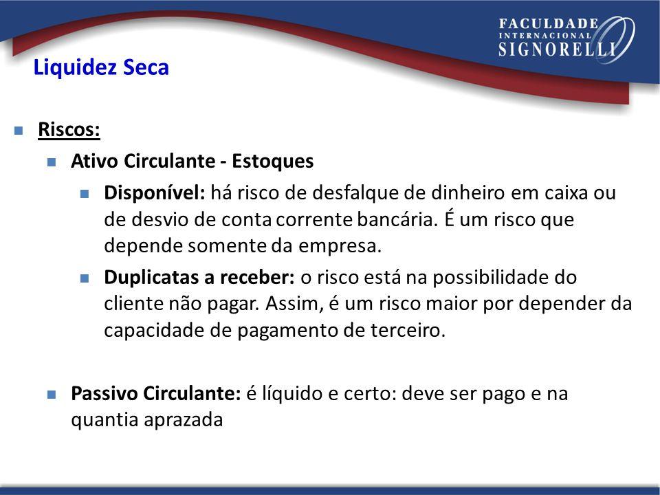 Liquidez Seca Riscos: Ativo Circulante - Estoques