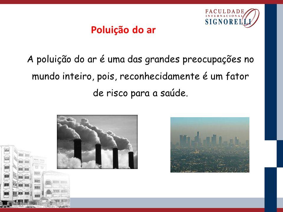 Poluição do ar A poluição do ar é uma das grandes preocupações no mundo inteiro, pois, reconhecidamente é um fator de risco para a saúde.