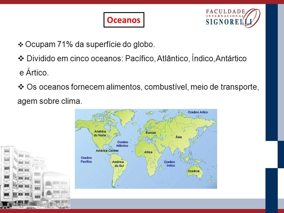 Oceanos Ocupam 71% da superfície do globo. Dividido em cinco oceanos: Pacífico, Atlântico, Índico,Antártico.