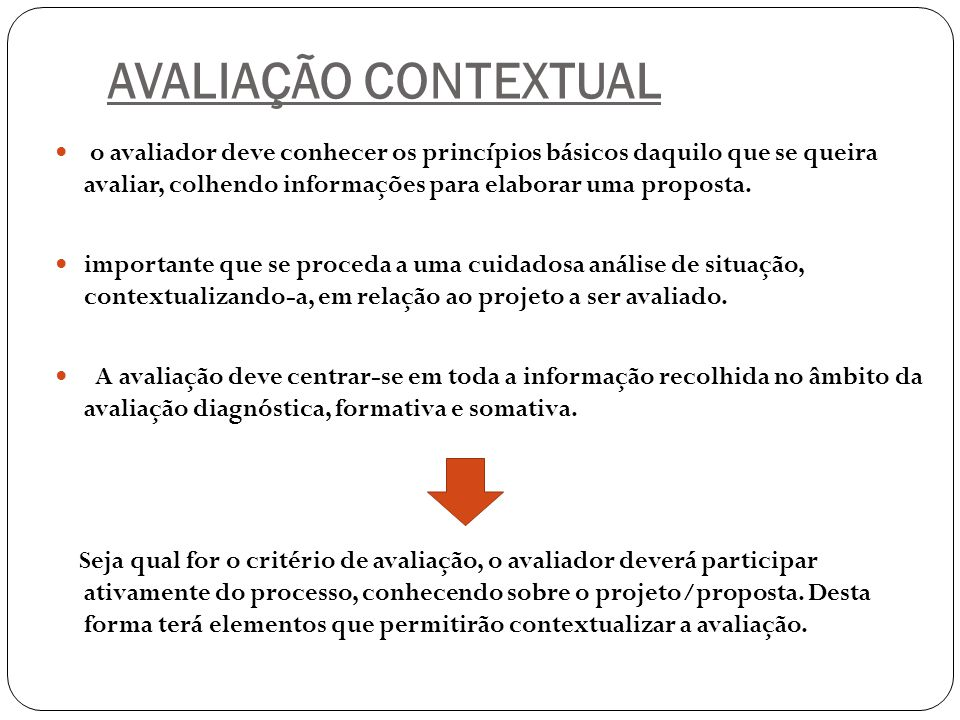 AVALIAÇÃO CONTEXTUAL
