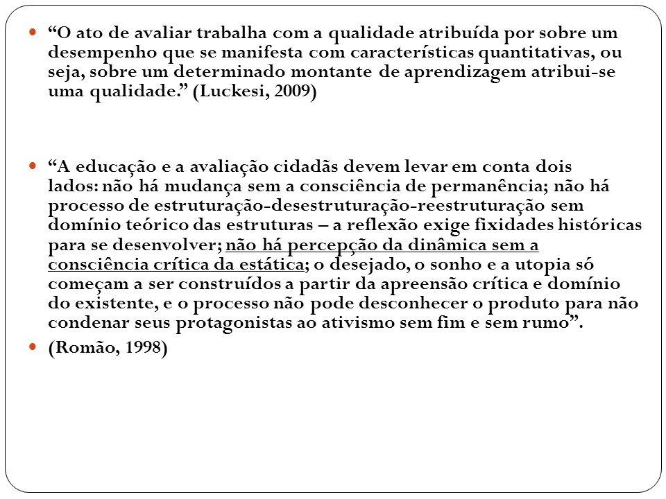 O ato de avaliar trabalha com a qualidade atribuída por sobre um desempenho que se manifesta com características quantitativas, ou seja, sobre um determinado montante de aprendizagem atribui-se uma qualidade. (Luckesi, 2009)