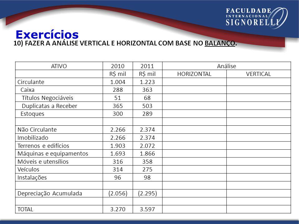 Exercícios 10) FAZER A ANÁLISE VERTICAL E HORIZONTAL COM BASE NO BALANÇO. ATIVO. 2010. 2011. Análise.