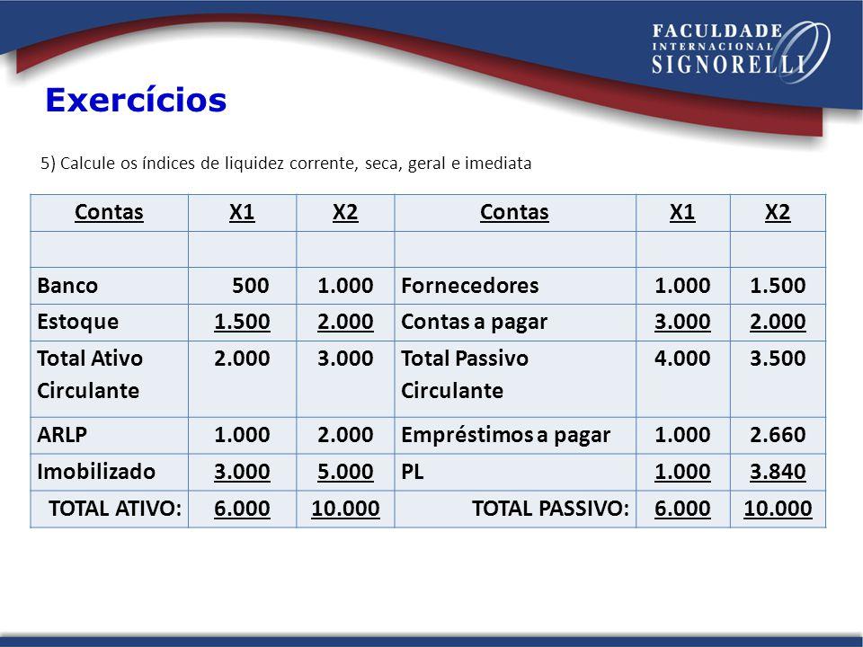 Exercícios Contas X1 X2 Banco 500 1.000 Fornecedores 1.500 Estoque