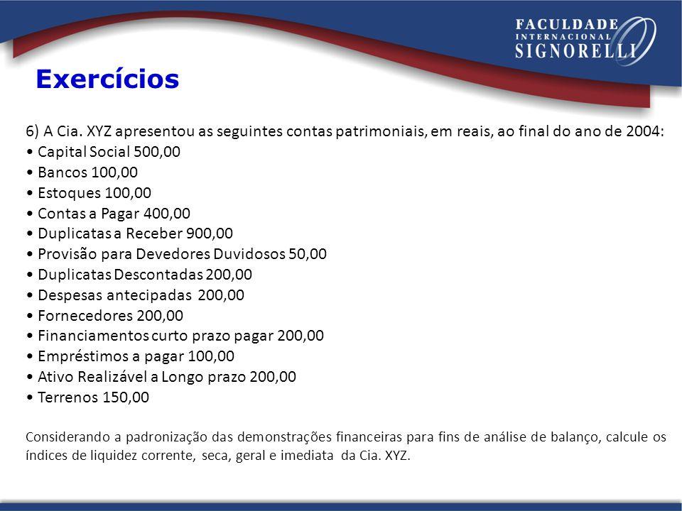 Exercícios 6) A Cia. XYZ apresentou as seguintes contas patrimoniais, em reais, ao final do ano de 2004: