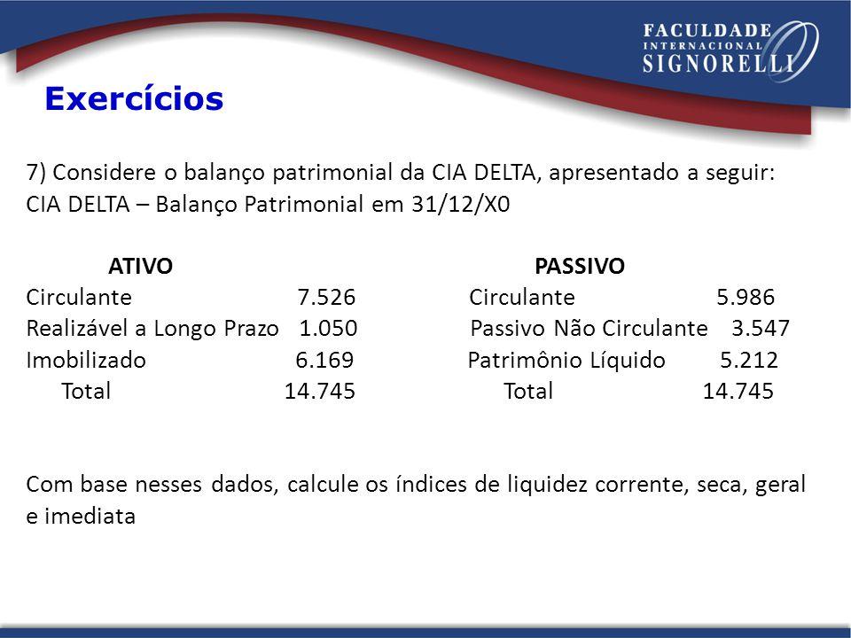Exercícios 7) Considere o balanço patrimonial da CIA DELTA, apresentado a seguir: CIA DELTA – Balanço Patrimonial em 31/12/X0.