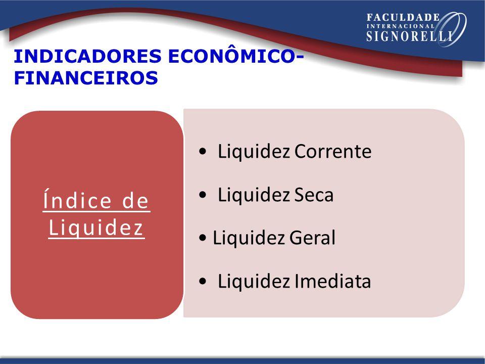 Índice de Liquidez Liquidez Corrente Liquidez Seca Liquidez Geral