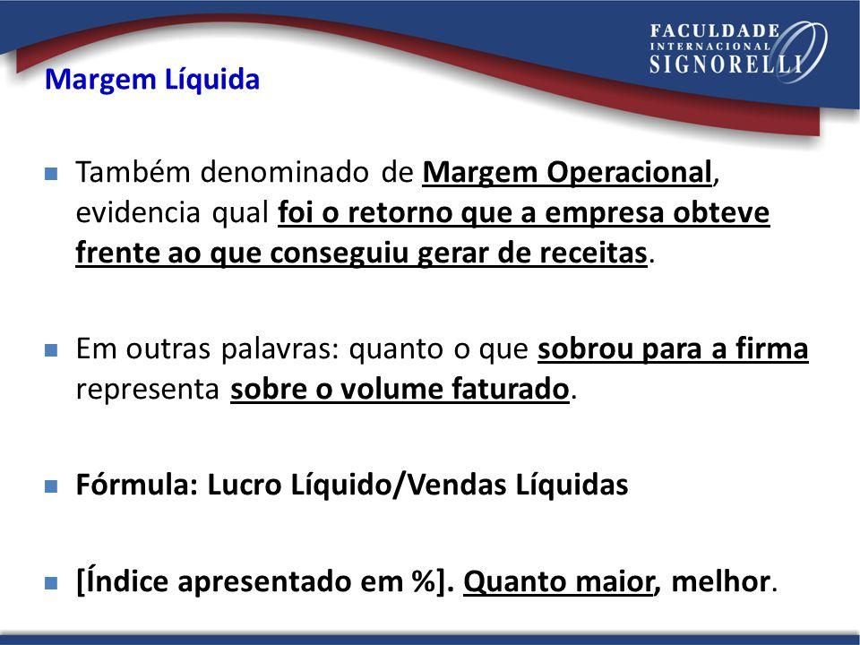 Fórmula: Lucro Líquido/Vendas Líquidas