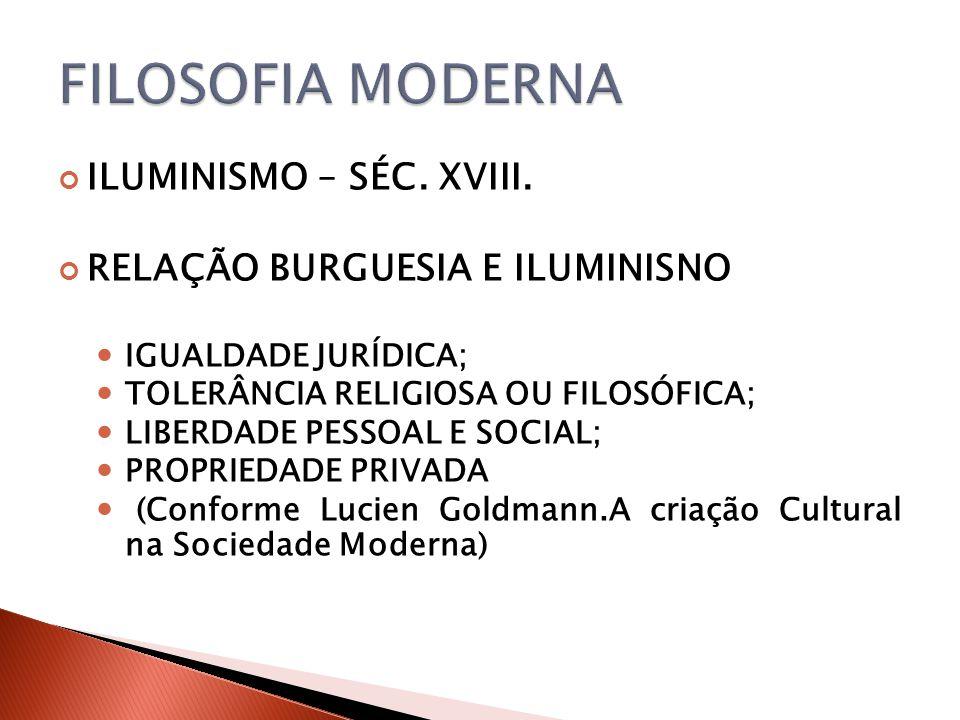 FILOSOFIA MODERNA ILUMINISMO – SÉC. XVIII.