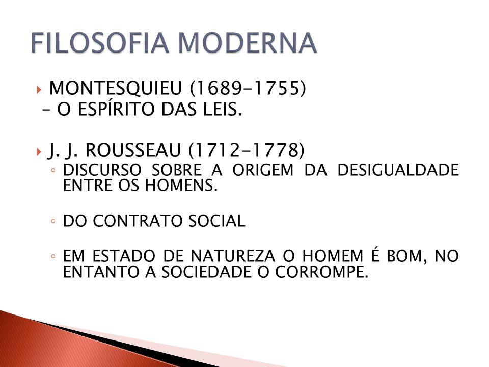FILOSOFIA MODERNA MONTESQUIEU (1689-1755) – O ESPÍRITO DAS LEIS.