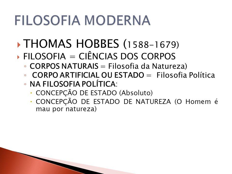 FILOSOFIA MODERNA THOMAS HOBBES (1588-1679)