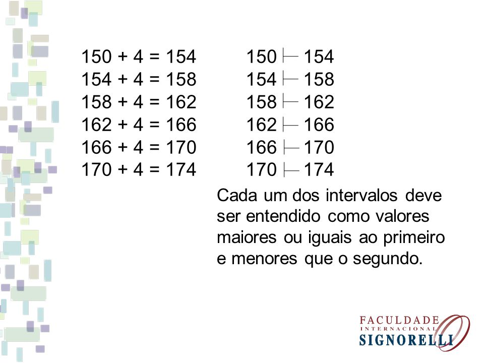 150 + 4 = 154 154 + 4 = 158. 158 + 4 = 162. 162 + 4 = 166. 166 + 4 = 170. 170 + 4 = 174. 150 154.