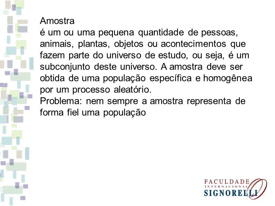 Amostra é um ou uma pequena quantidade de pessoas, animais, plantas, objetos ou acontecimentos que.