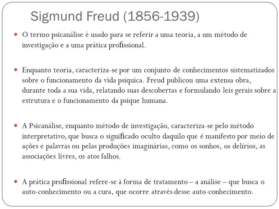 Sigmund Freud (1856-1939) O termo psicanálise é usado para se referir a uma teoria, a um método de investigação e a uma prática profissional.