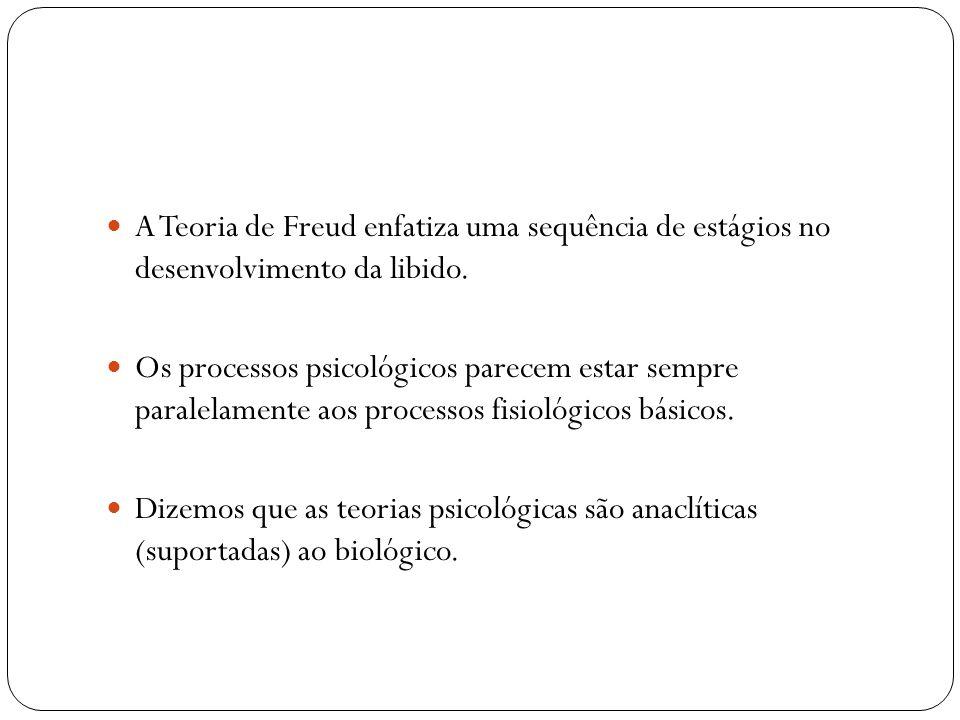 A Teoria de Freud enfatiza uma sequência de estágios no desenvolvimento da libido.