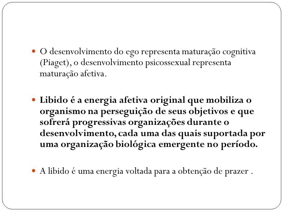 O desenvolvimento do ego representa maturação cognitiva (Piaget), o desenvolvimento psicossexual representa maturação afetiva.