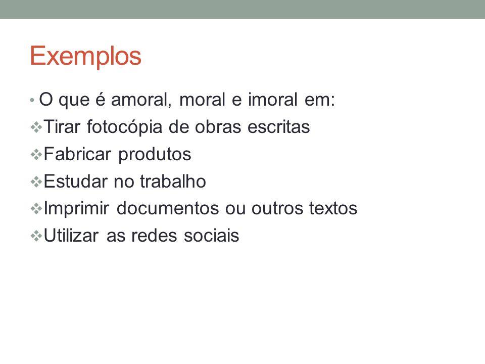 Exemplos O que é amoral, moral e imoral em: