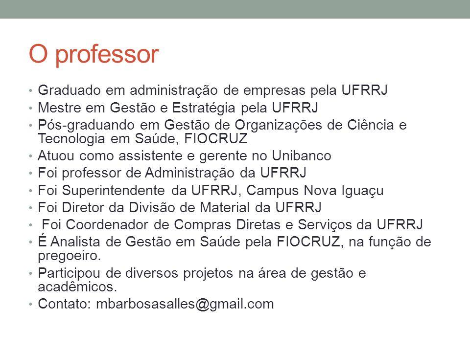 O professor Graduado em administração de empresas pela UFRRJ