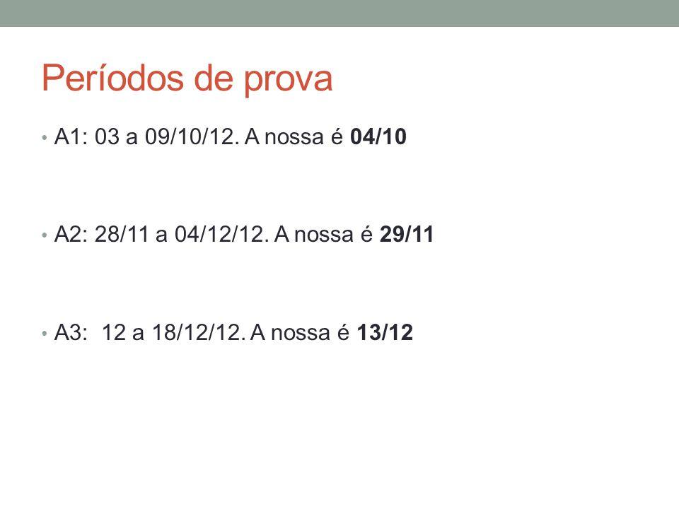 Períodos de prova A1: 03 a 09/10/12. A nossa é 04/10