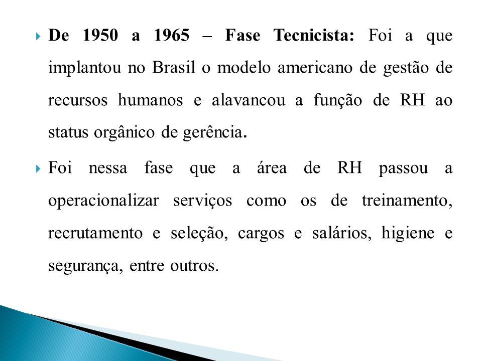 De 1950 a 1965 – Fase Tecnicista: Foi a que implantou no Brasil o modelo americano de gestão de recursos humanos e alavancou a função de RH ao status orgânico de gerência.