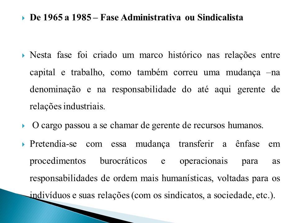 De 1965 a 1985 – Fase Administrativa ou Sindicalista
