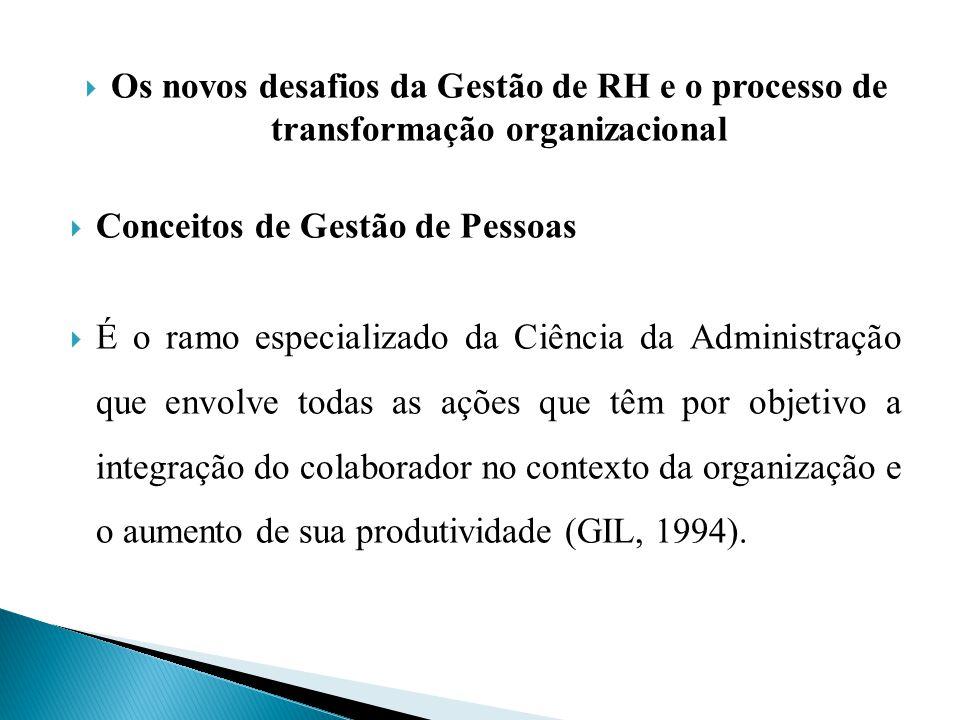 Os novos desafios da Gestão de RH e o processo de transformação organizacional