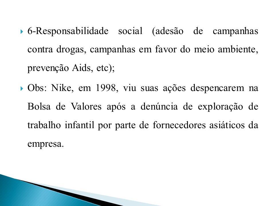 6-Responsabilidade social (adesão de campanhas contra drogas, campanhas em favor do meio ambiente, prevenção Aids, etc);